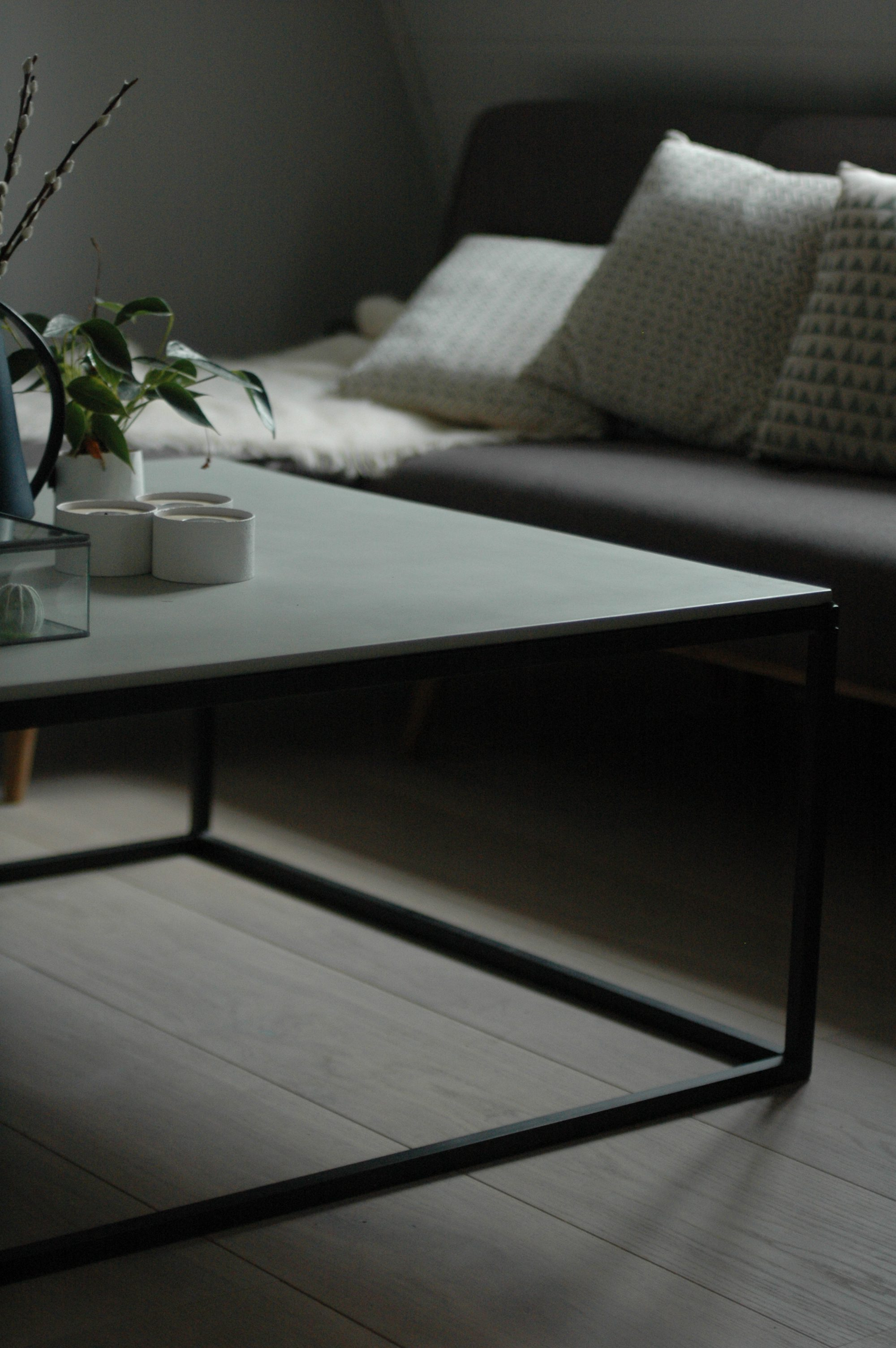 Concrete Coffee Table With Metal Base Large 100w X 100d X 45h Cm