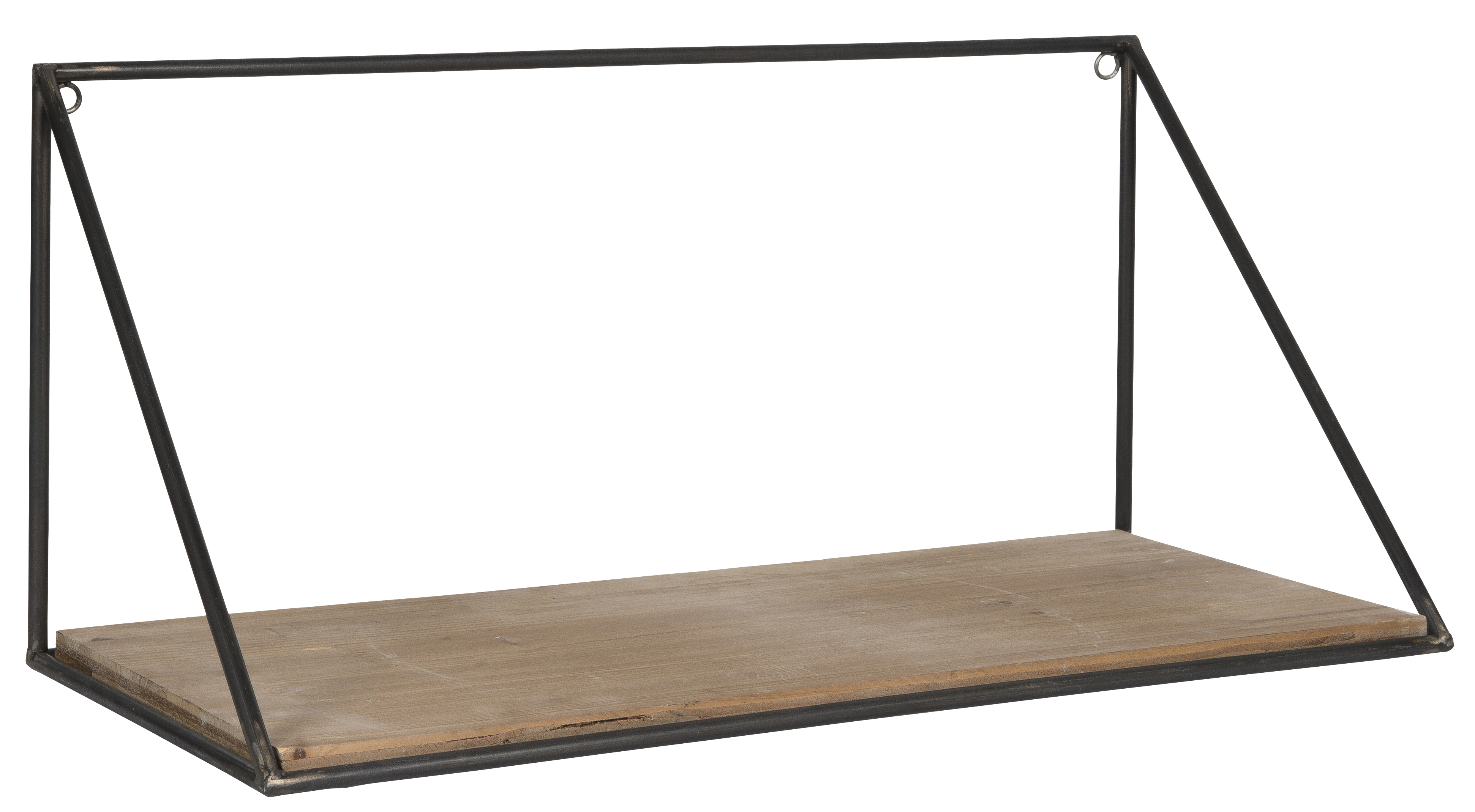 Wooden Wall Shelf With Metal Triangular Sides