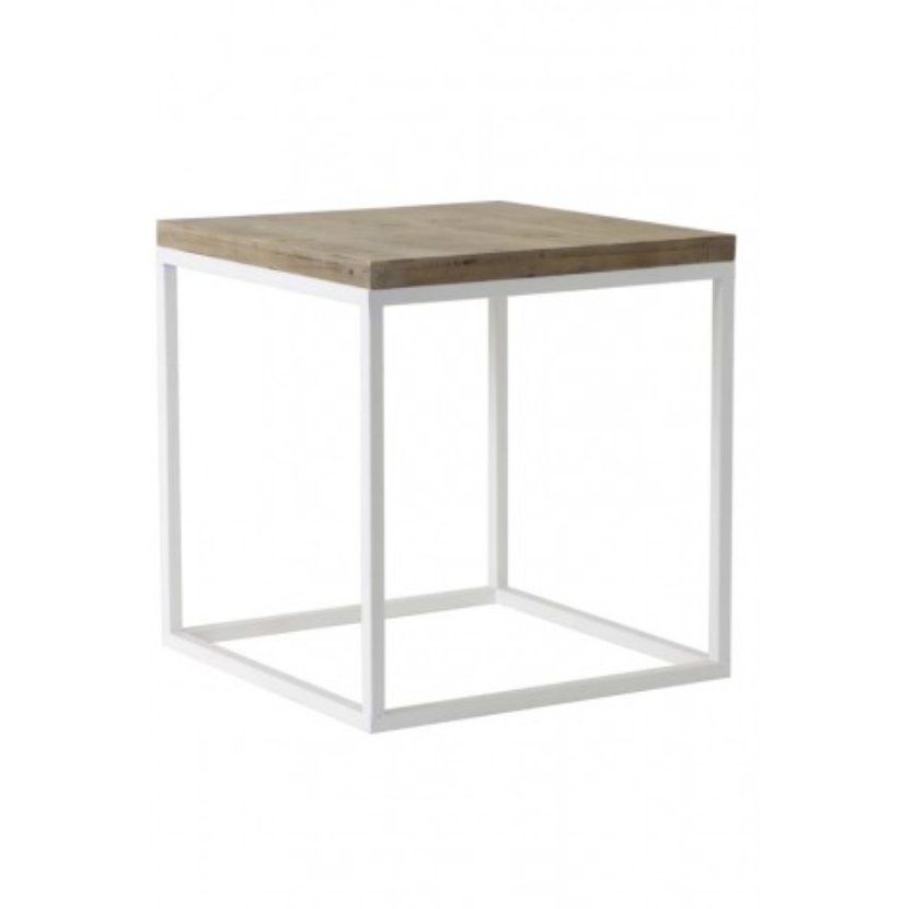Small White Metal And Wood Cube Side Table